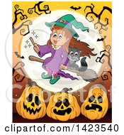 Cute Witch Girl Flying With A Cat Over A Full Moon With Bats Bare Tree Branches And Halloween Pumpkins Over Orange