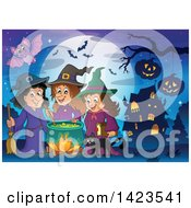 Bat Over Witches And A Cat Making A Potion Near A Haunted House