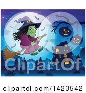 Clipart Of A Green Witch Flying Near A Haunted House Against A Full Moon Royalty Free Vector Illustration