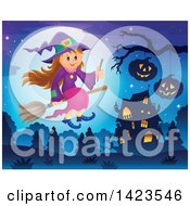 Clipart Of A Cute Witch Girl Holding A Wand And Flying Near A Haunted House Royalty Free Vector Illustration