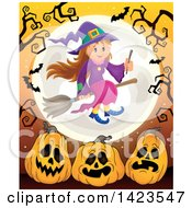 Clipart Of A Cute Witch Girl Flying Over A Full Moon With Bats Bare Tree Branches And Halloween Pumpkins Over Orange Royalty Free Vector Illustration