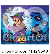 Cute Witch Girl Trick Or Treating With Her Cat Near A Haunted House