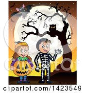 Clipart Of A Boy And Girl Trick Or Treating In Pumpkin And Skeleton Witch Costumes Standing Against A Full Moon With Bats And An Owl In A Tree Royalty Free Vector Illustration