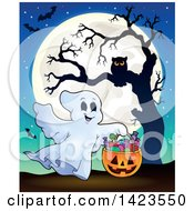 Clipart Of A Full Moon With A Ghost Trick Or Treating Bats And An Owl In A Tree Royalty Free Vector Illustration