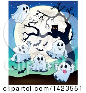 Clipart Of A Full Moon With Ghosts Bats And An Owl In A Tree Royalty Free Vector Illustration