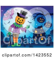 Clipart Of A Halloween Pumpkin Headed Man Waving Against A Full Moon With Bats Near A Haunted House Royalty Free Vector Illustration