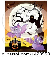 Clipart Of A Full Moon With A Halloween Pumpkin Bats And Owl In A Bare Tree Royalty Free Vector Illustration by visekart