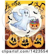 Clipart Of A Full Moon With A Trick Or Treating Ghost Over Halloween Pumpkins With Branches And Btas Royalty Free Vector Illustration