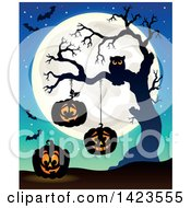 Clipart Of A Full Moon With Halloween Pumpkins Bats And Owl In A Bare Tree Royalty Free Vector Illustration