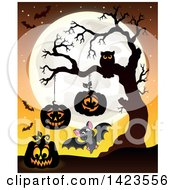Clipart Of A Full Moon With Halloween Jackolantern Pumpkins Bats And Owl In A Bare Tree Royalty Free Vector Illustration