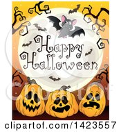 Clipart Of A Full Moon With Flying Bats Happy Halloween Text Branches And Jackolantern Pumpkins Royalty Free Vector Illustration by visekart