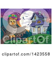 Clipart Of A Witch Owl Perched On A Branch Pointing To A Haunted House With A Full Moon And Bats Royalty Free Vector Illustration by visekart