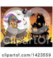 Clipart Of A Witch Owl Perched On A Branch Pointing To A Haunted House With A Full Moon And Bats At Sunset Royalty Free Vector Illustration by visekart