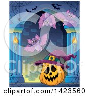 Clipart Of A Halloween Jackolantern Pumpkin Wearing A Witch Hat In A Hallway With Bats Royalty Free Vector Illustration by visekart