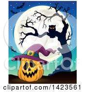Clipart Of A Full Moon With A Halloween Pumpkin Wearing A Witch Hat Bats And Owl In A Bare Tree Royalty Free Vector Illustration