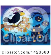 Clipart Of A Crow Wearing A Witch Hat Perched On An Autumn Tree Branch Against A Full Moon With Bats Halloween Pumpkins And A Haunted House Royalty Free Vector Illustration by visekart