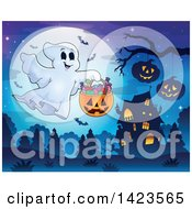 Clipart Of A Full Moon With A Trick Or Treating Ghost Haunted House And Bats Royalty Free Vector Illustration