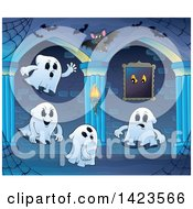 Clipart Of A Haunted Hallway With Bats And Ghosts Royalty Free Vector Illustration