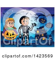 Clipart Of A Boy And Girl Trick Or Treating In Pumpkin And Skeleton Witch Costumes Standing Against A Full Moon Near A Haunted House Royalty Free Vector Illustration