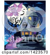 Clipart Of A Full Moon With Flying Bats And A Haunted House Royalty Free Vector Illustration
