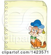 Ruled Sheet Of Spiral Notebook Paper With A Graduate Cat