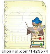 Clipart Of A Ruled Sheet Of Spiral Notebook Paper With A Professor Owl Holding A Pointer Stick Royalty Free Vector Illustration by visekart