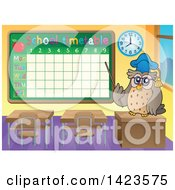 Clipart Of A Professor Teacher Owl Pointing To A School Time Table In A Class Room Royalty Free Vector Illustration by visekart