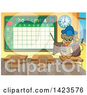 Clipart Of A Professor Teacher Owl Pointing To A Schooltime Table In A Class Room Royalty Free Vector Illustration by visekart