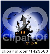 Full Moon Silhouetting Bats An Owl In A Tree Haunted Castle Cemetery And Jackolantern Pumpkins Against Blue