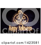 Clipart Of A Happy Halloween Sparkly Lights Greeting Over A Full Moon And 3d Bare Tree Branches Royalty Free Illustration
