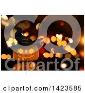 Clipart Of A 3d Halloween Jackolantern Pumpkin Wearing A Witch Hat Over Blurred Lights Royalty Free Illustration