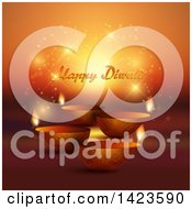 Clipart Of Happy Diwali Text With Oil Lamps On Magic Flares And Orange Royalty Free Vector Illustration by KJ Pargeter