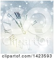 Clipart Of A Count Down Clock Approaching Midnight For Christmas Or New Years In The Snow Royalty Free Vector Illustration by KJ Pargeter