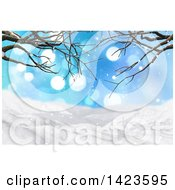 Clipart Of A 3d Hilly Winter Landscape Covered In Snow With Bare Tree Branches And Flares Royalty Free Illustration