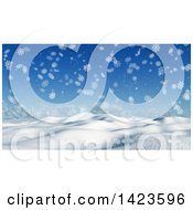 Clipart Of A 3d Hilly Winter Landscape Covered In Snow With Falling Snowflakes Royalty Free Illustration