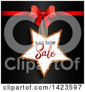 Clipart Of A Black Friday Sale Retail Star Tag And Red Bow Over Black Royalty Free Vector Illustration