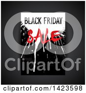 Clipart Of A Grungy Splatter Black Friday Sale Retail Leaflet Design Over Gray Royalty Free Vector Illustration