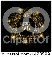 Clipart Of A Gold Glittery Frame Around Black Friday Sale Text Over Black Royalty Free Vector Illustration by KJ Pargeter