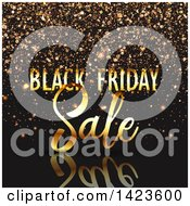Clipart Of A Black Friday Sale Retail Design In Gold Over Black With Confetti Royalty Free Vector Illustration by KJ Pargeter