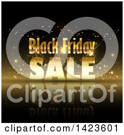 Clipart Of A Black Friday Sale Retail Design In Gold Over Black Royalty Free Vector Illustration by KJ Pargeter