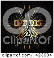 Clipart Of A Black Friday Sale Retail Gold Burst Over Black Royalty Free Vector Illustration by KJ Pargeter