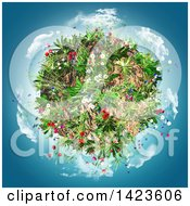Clipart Of A 3d Planet With Flowers And Clouds Over Blue Royalty Free Illustration by KJ Pargeter