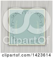 Clipart Of A Retro Polka Dot Invitation With Swirls Hearts And White Wood Royalty Free Vector Illustration
