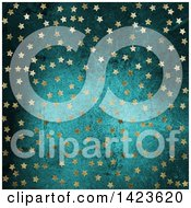 Clipart Of A Background Of Golden Stars Over Blue Grunge Royalty Free Illustration
