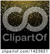 Clipart Of A Black Background With Gold Star Glitter Confetti Royalty Free Vector Illustration