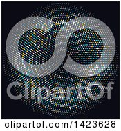 Clipart Of A Circle Or Tunnel Made Of Halftone Dots On Black Royalty Free Vector Illustration
