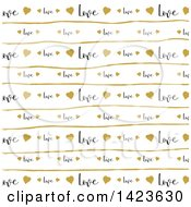Gold Heart Line And Love Text Pattern
