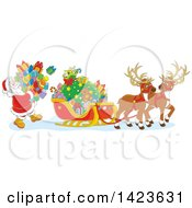 Clipart Of Cartoon Reindeer Waiting As Santa Loads His Sleigh With Christmas Gifts Royalty Free Vector Illustration by Alex Bannykh