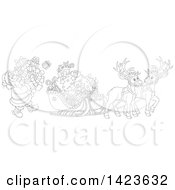 Clipart Of Cartoon Black And White Lineart Reindeer Waiting As Santa Loads His Sleigh With Christmas Gifts Royalty Free Vector Illustration