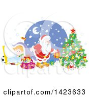 Clipart Of A Giggling Caucasian Boy Under A Blanket As Santa Sets Gifts Under A Christmas Tree Royalty Free Vector Illustration